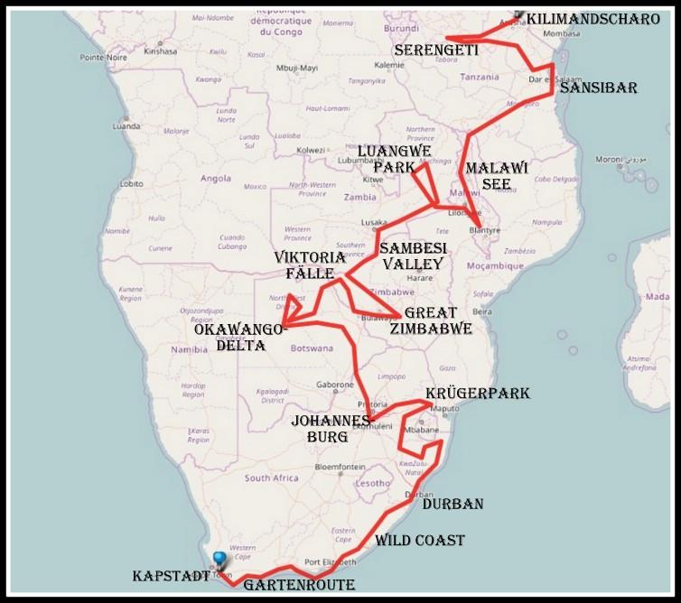 Vom Kap zum Kilimandscharo Route-001